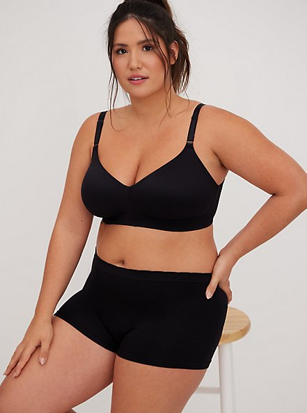 Black Seamless Boyshort Panty, BLACK, hi-res