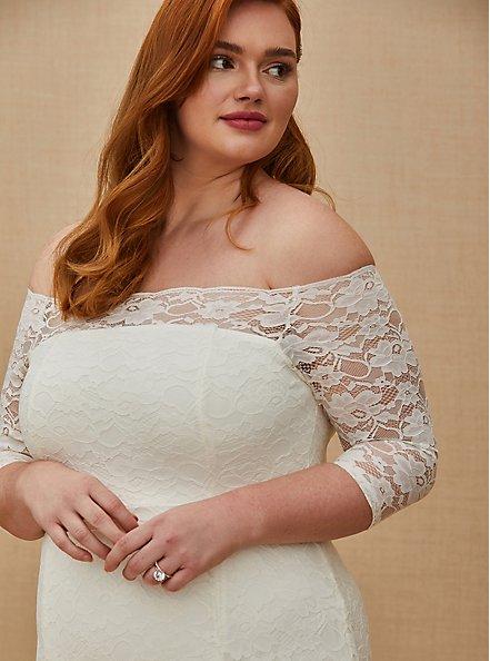 Ivory Lace Off Shoulder Fit & Flare Wedding Dress, CLOUD DANCER, alternate