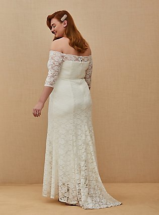 Ivory Lace Off Shoulder Fit & Flare Wedding Dress, CLOUD DANCER, alternate