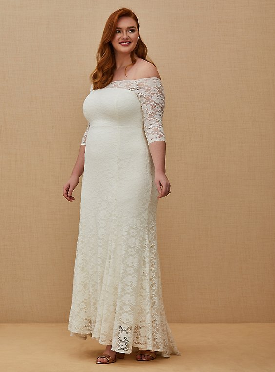 Plus Size Ivory Lace Off Shoulder Fit Flare Wedding Dress Torrid