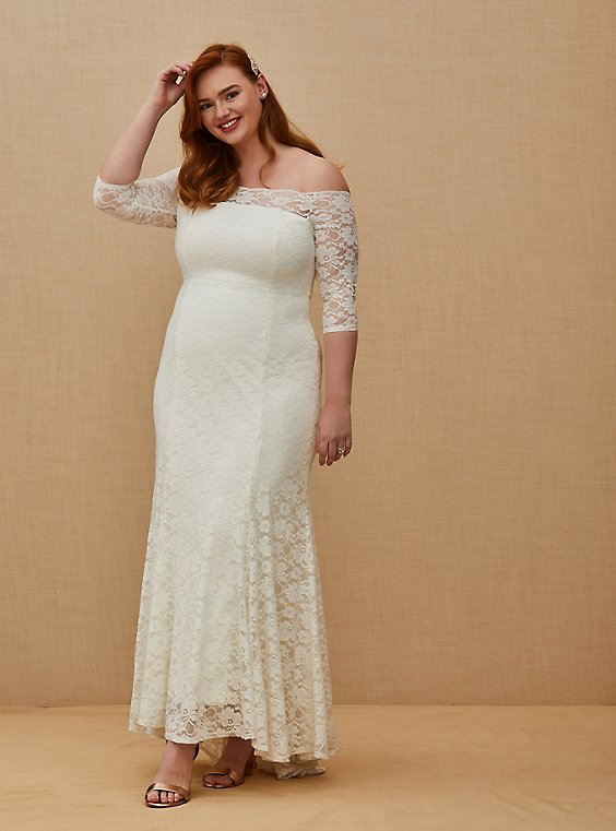 Ivory Lace Off Shoulder Fit & Flare Wedding Dress, , hi-res
