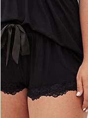 Black Lace Trim Sleep Short, BLACK, alternate