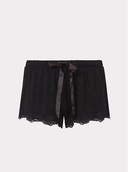 Black Lace Trim Sleep Short, BLACK, hi-res