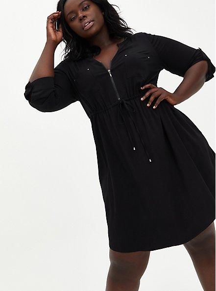 Black Challis Zip Front Drawstring Shirt Dress, DEEP BLACK, alternate