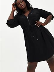 Black Challis Zip Front Drawstring Shirt Dress, DEEP BLACK, alternate
