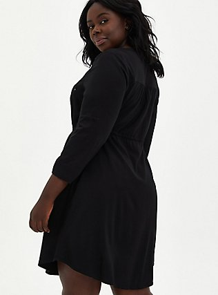 Plus Size Black Challis Zip Front Drawstring Shirt Dress, DEEP BLACK, alternate