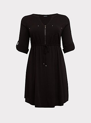 Plus Size Black Challis Zip Front Drawstring Shirt Dress, DEEP BLACK, flat