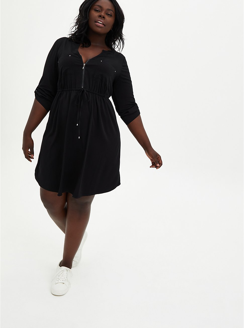 Black Challis Zip Front Drawstring Shirt Dress, DEEP BLACK, hi-res