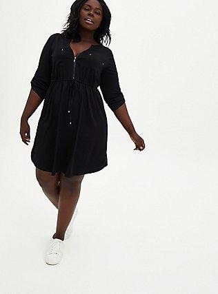 Black Challis Zip Front Drawstring Shirt Dress, DEEP BLACK, hi-res
