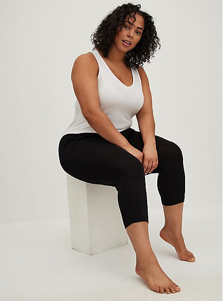 Plus Size Black Relaxed Crop Sleep Pant, DEEP BLACK, alternate