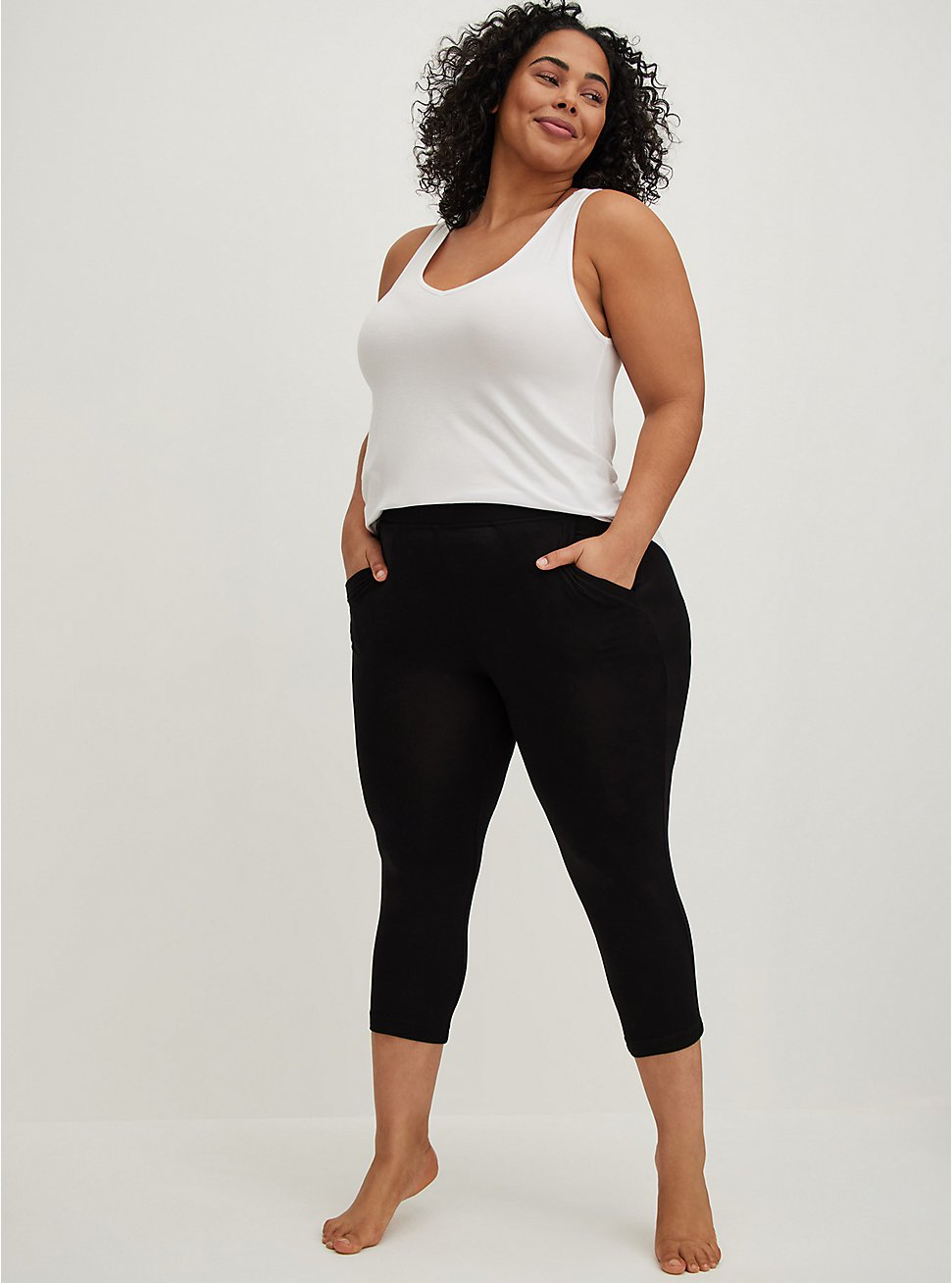 Plus Size Black Relaxed Crop Sleep Pant, DEEP BLACK, hi-res