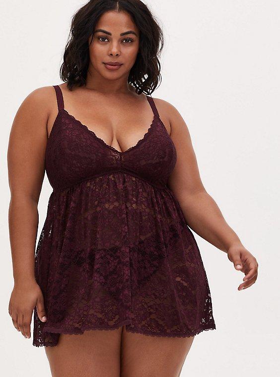 Plus Size Lace Bralette Babydoll, BURGUNDY, hi-res