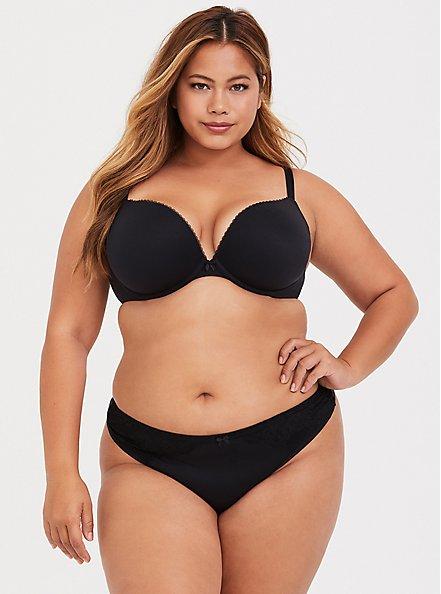 Plus Size Torrid Curve Body™ Black Lightly Lined Plunge Bra, RICH BLACK, alternate
