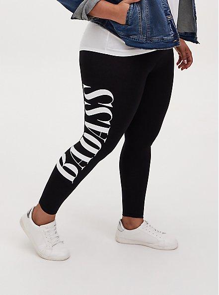 Premium Legging - 'Badass' Black, BLACK, alternate