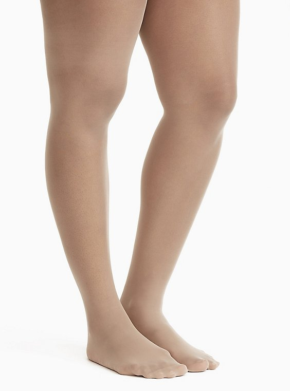 Plus Size Sheer Beige Tights, , hi-res