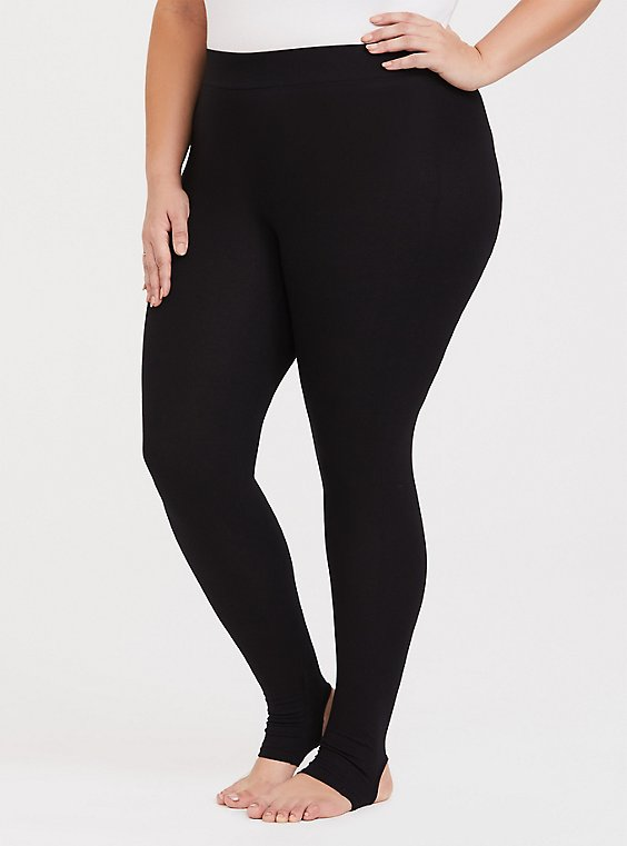 Plus Size Premium Legging - Stirrup Inset Black, , hi-res