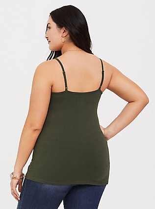 Plus Size Olive Green Scoop Neck Foxy Cami, DEEP DEPTHS, alternate