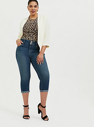 Plus Size Leopard Print Mesh Tee, , alternate