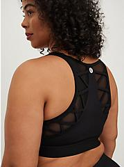 Black Mesh Insert Strappy Wicking Sports Bra, BLACK, alternate