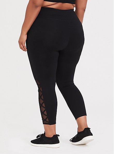 Black Lattice Crop Wicking Active Legging, BLACK, alternate