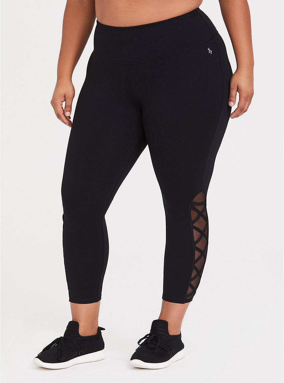 Black Lattice Crop Wicking Active Legging, BLACK, hi-res