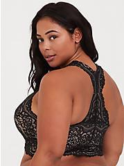 Black Lace Racerback Bralette, RICH BLACK, alternate