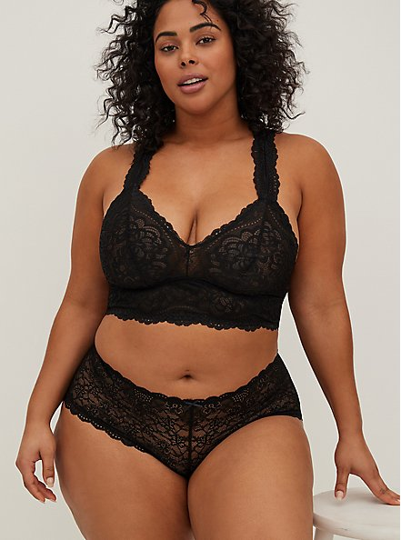 Black Lace Racerback Bralette, RICH BLACK, alternate