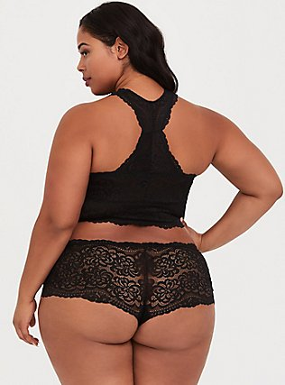 Plus Size Black Lace Racerback Bralette, RICH BLACK, alternate