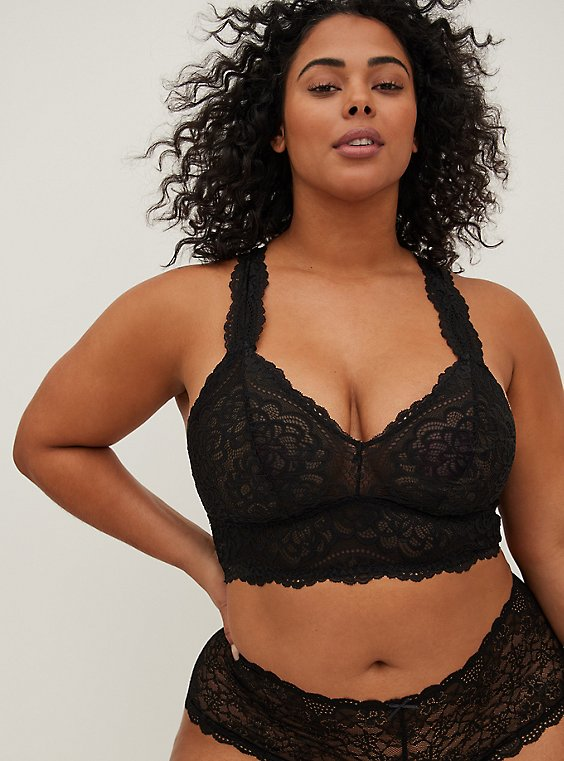 Plus Size Black Lace Racerback Bralette, , hi-res