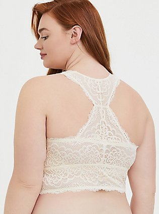 Plus Size Ivory Lace Racerback Bralette, IVORY, alternate