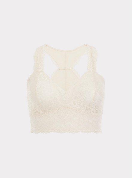 Ivory Lace Racerback Bralette, IVORY, hi-res