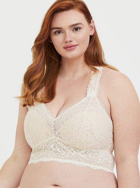 Plus Size Ivory Lace Racerback Bralette, , hi-res