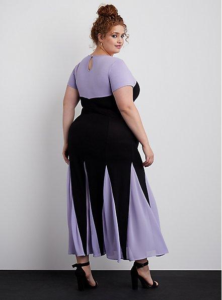Plus Size Disney The Little Mermaid Ursula Purple Maxi Dress, DEEP BLACK, alternate