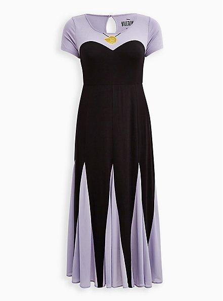 Plus Size Disney The Little Mermaid Ursula Purple Maxi Dress, DEEP BLACK, hi-res