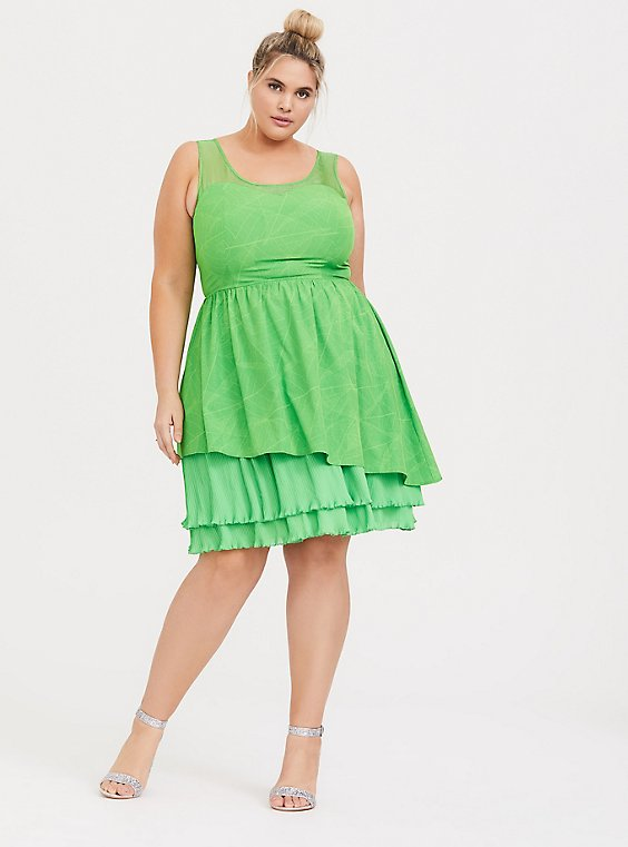 Disney Tinkerbell Lime Green Skater Dress, , hi-res