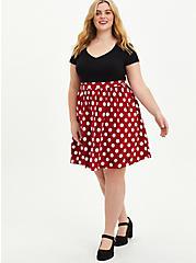Disney Minnie Mouse Polka Dot Skater Dress, DEEP BLACK, alternate