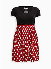 Disney Minnie Mouse Polka Dot Skater Dress, DEEP BLACK, hi-res