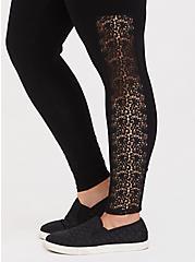 Plus Size Premium Legging - Crochet Inset Black, BLACK, alternate
