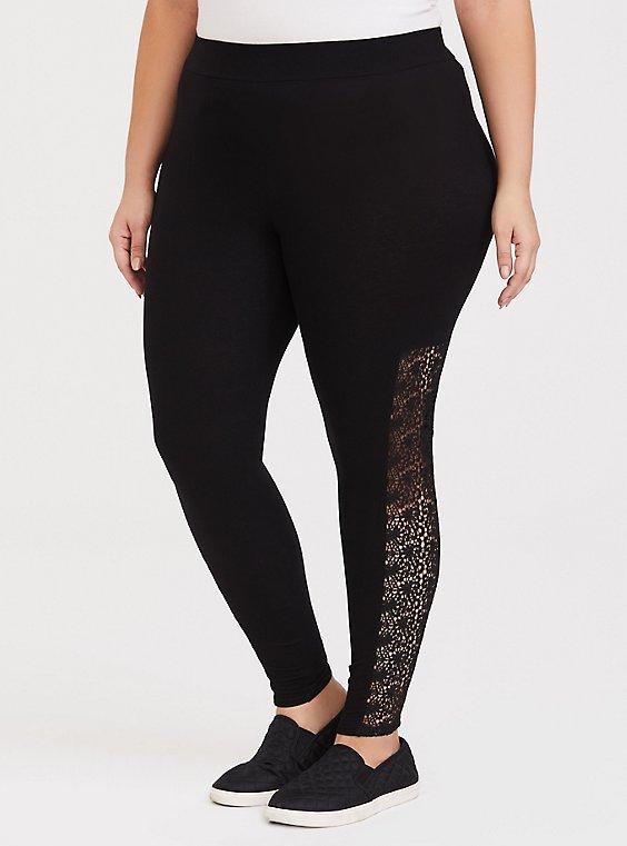 Plus Size Premium Legging - Crochet Inset Black, BLACK, hi-res