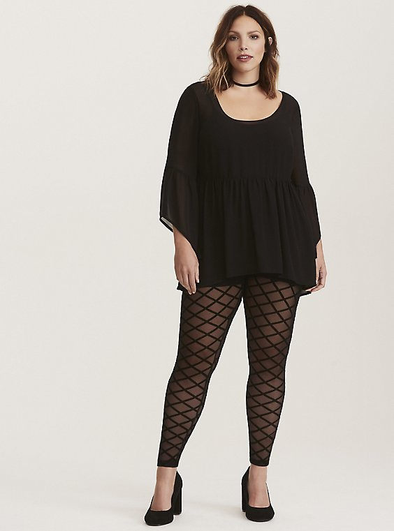 Plus Size Premium Legging - Quilted Mesh Black, , hi-res