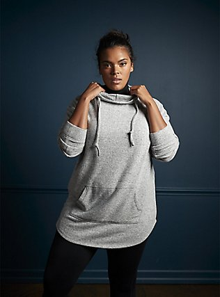 Plus Size Super Soft Plush Light Grey Cowl Neck Hoodie, , alternate