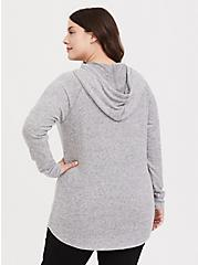 Super Soft Plush Light Grey Cowl Neck Hoodie, , alternate