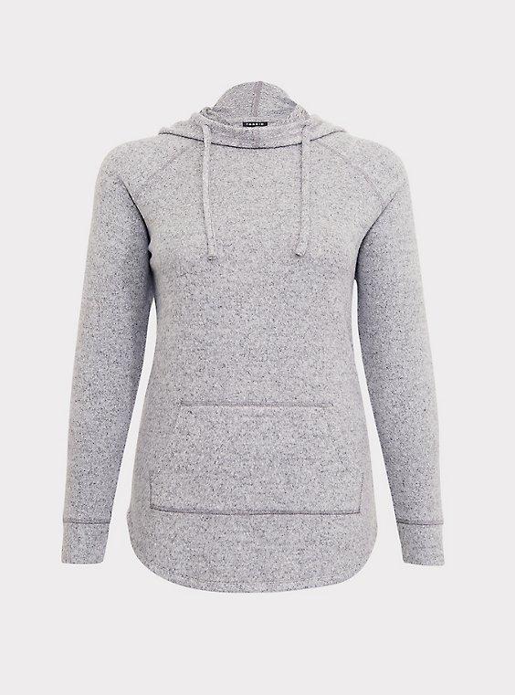 Plus Size Super Soft Plush Light Grey Cowl Neck Hoodie, , flat