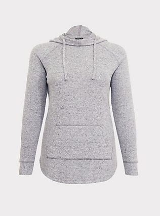 Plus Size Super Soft Plush Light Grey Cowl Neck Hoodie, , flat