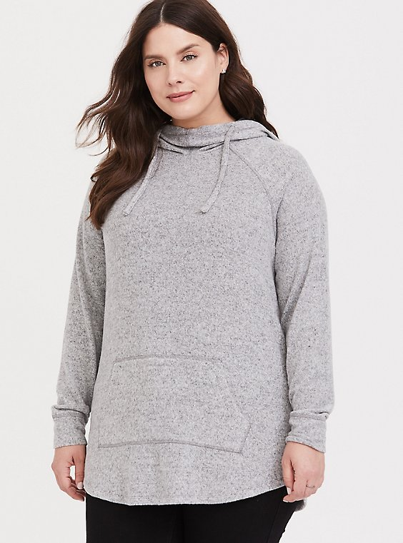 Plus Size Super Soft Plush Light Grey Cowl Neck Hoodie, , hi-res