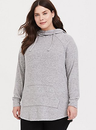Super Soft Plush Light Grey Cowl Neck Hoodie, , hi-res
