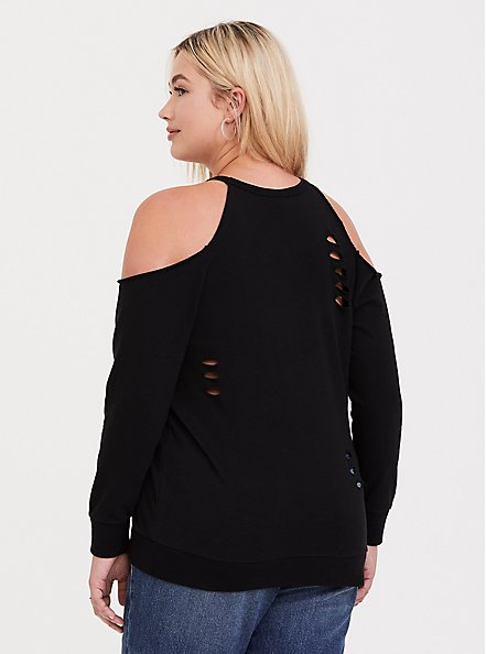 Black Destructed Cold Shoulder Sweatshirt, , alternate