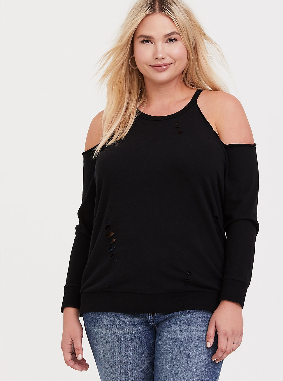 Black Destructed Cold Shoulder Sweatshirt, , hi-res