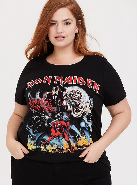 Iron Maiden Black Slim Fit Crew Tee, , hi-res