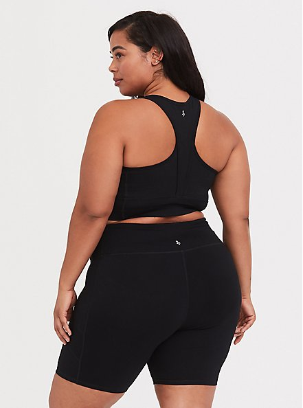 Black Longline Wicking Sports Bra, BLACK, alternate